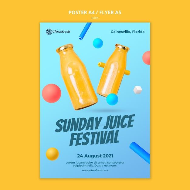 유리 병에 상쾌한 오렌지 주스를위한 수직 포스터 무료 PSD 파일