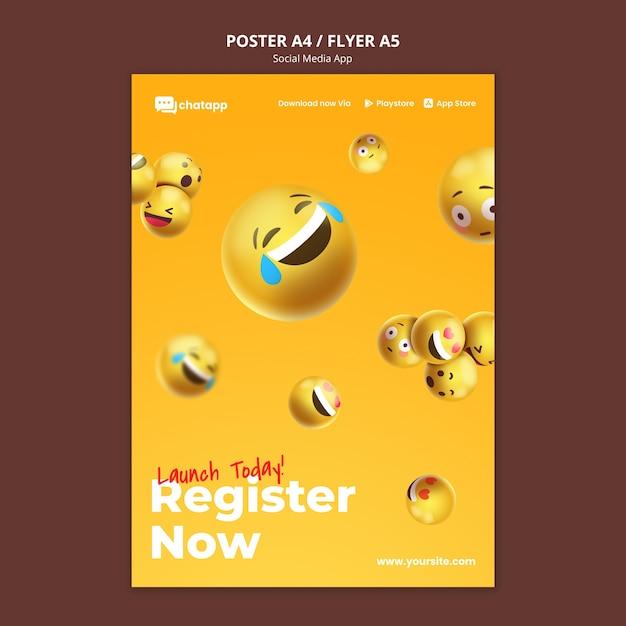 이모티콘이있는 소셜 미디어 채팅 앱용 세로 포스터 무료 PSD 파일