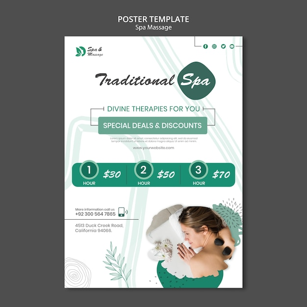 Вертикальный плакат для спа-массажа с женщиной Бесплатные Psd