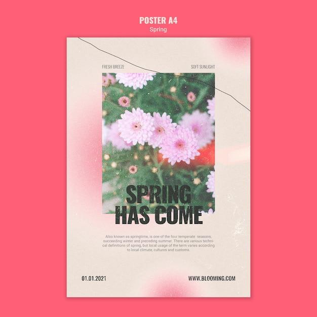 花と春の縦のポスター 無料 Psd