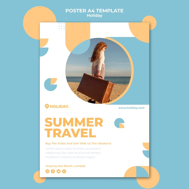 여름 휴가를위한 수직 포스터 무료 PSD 파일