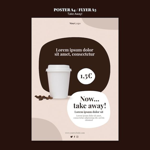 Вертикальный плакат для кофе на вынос Premium Psd