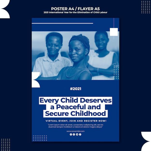 아동 노동 근절을위한 국제 연도의 세로 포스터 무료 PSD 파일