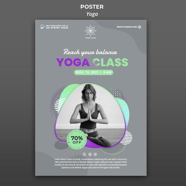 Вертикальный плакат для уроков йоги Бесплатные Psd