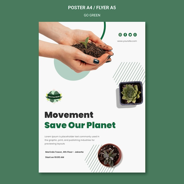 Vertical poster for going green and eco-friendly Free Psd
