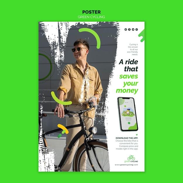 Vertical poster for green biking Free Psd