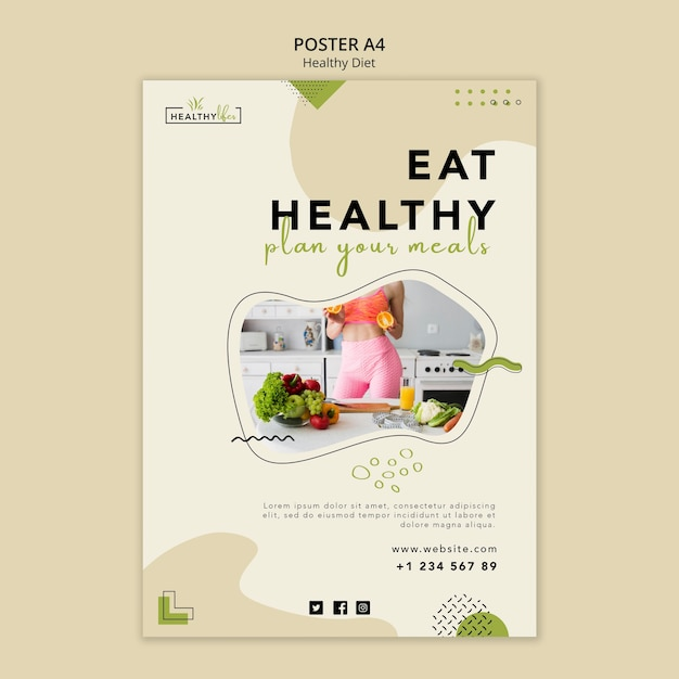 Vertical poster for healthy nutrition Free Psd