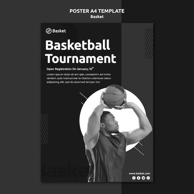 남자 농구 선수와 흑인과 백인 세로 포스터 무료 PSD 파일