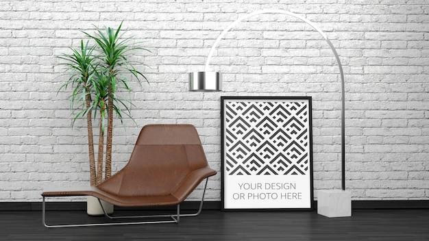 흰색 벽돌 우아한 인테리어에 세로 포스터 목업 프리미엄 PSD 파일