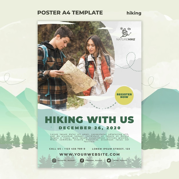 Vertical poster for nature hiking Free Psd