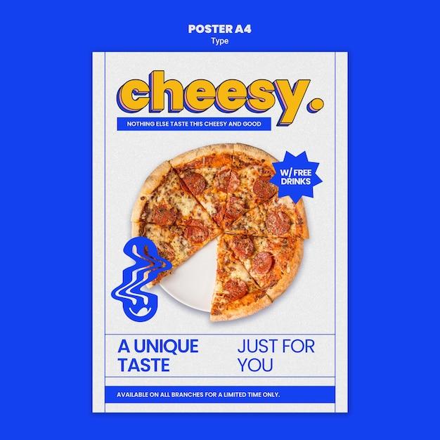 Poster verticale per il nuovo sapore di pizza al formaggio Psd Gratuite
