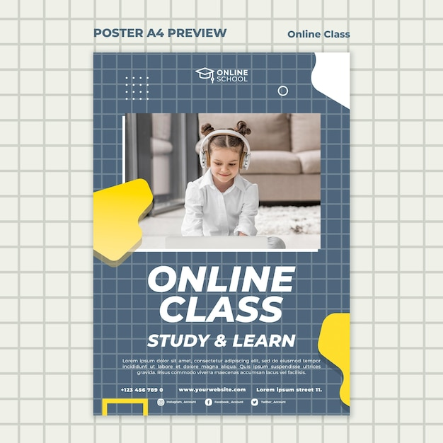 Vertical poster for online classes with child Free Psd