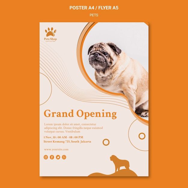 Vertical poster for pet shop with dog Free Psd