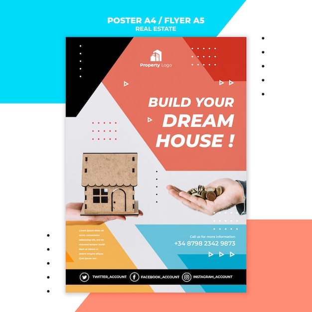 Vertical poster for real estate company Free Psd