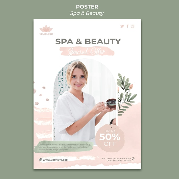 Poster verticale per spa e relax Psd Gratuite