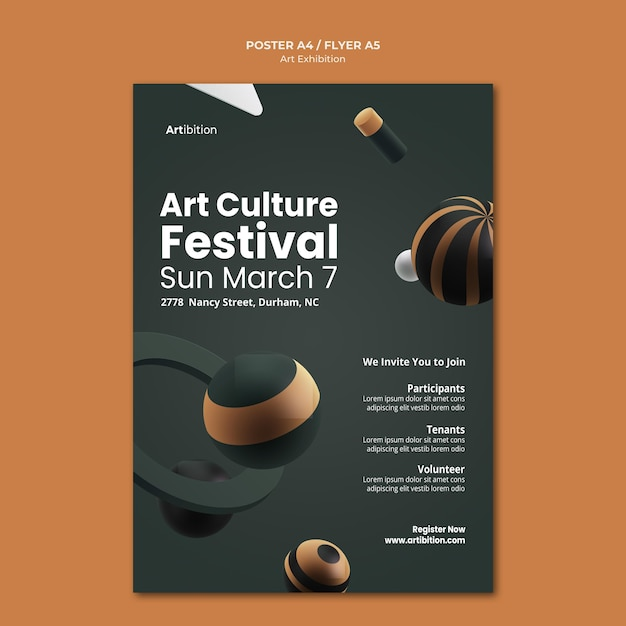 Vertical poster template for art exhibition with geometric shapes Free Psd