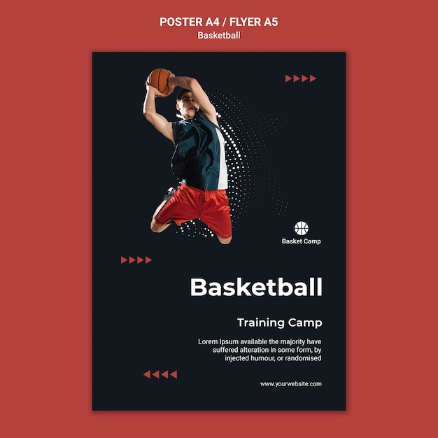 Vertical poster template for basketball training camp Free Psd