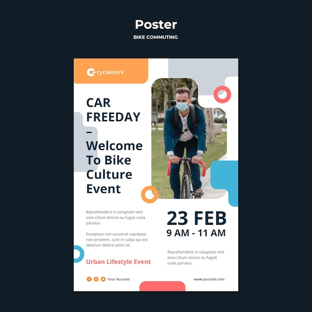Vertical poster template for bicycle commuting with male passenger Free Psd