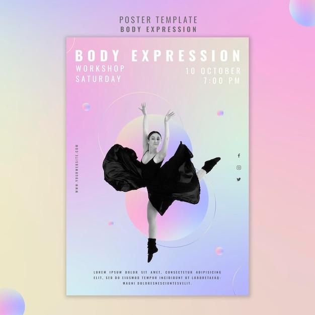 Modello di poster verticale per workshop sull'espressione del corpo Psd Gratuite