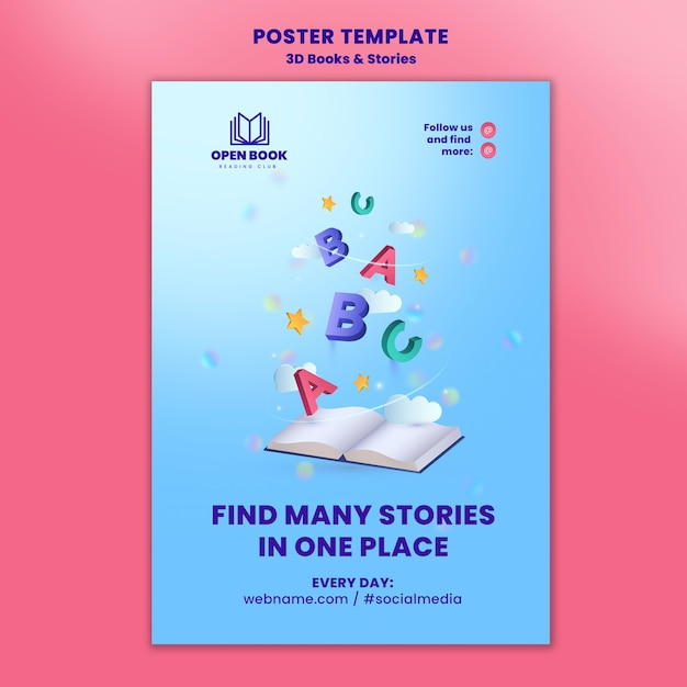 Vertical poster template for books with stories and letters Free Psd
