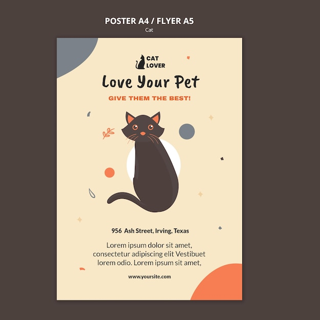Vertical poster template for cat adoption Free Psd