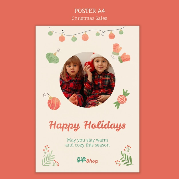 Vertical poster template for christmas sale with children Free Psd