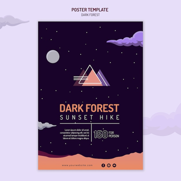 Vertical poster template for dark forest hiking Free Psd