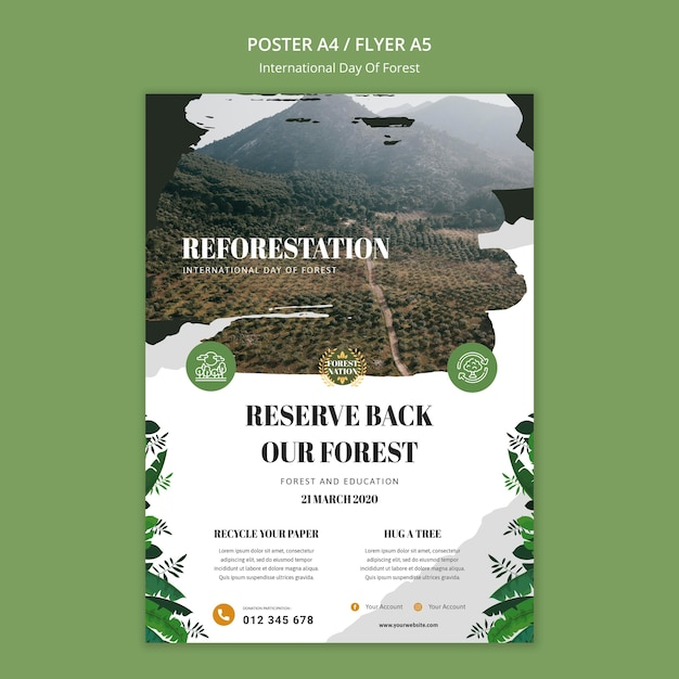 Vertical poster template for day of forest with nature Free Psd