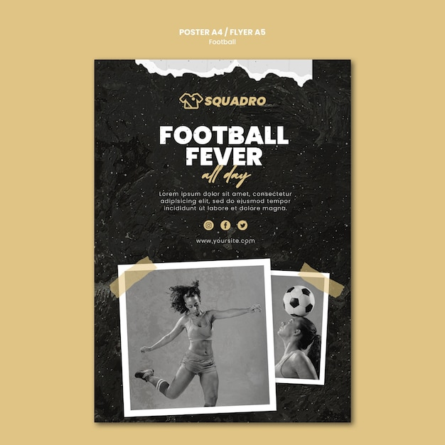 Vertical poster template for female football player Free Psd