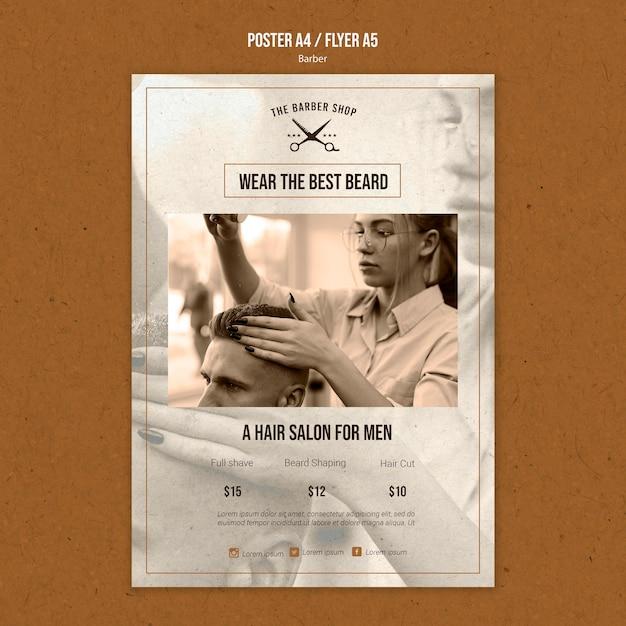 Вертикальный шаблон плаката для парикмахерской Бесплатные Psd