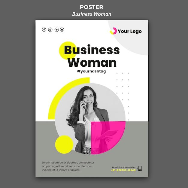 Вертикальный шаблон плаката для бизнесвумен Бесплатные Psd
