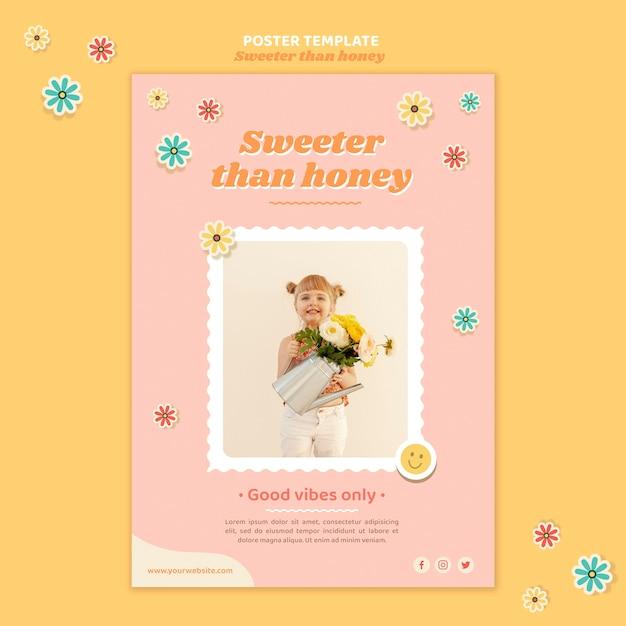 Вертикальный шаблон плаката для детей с цветами Бесплатные Psd