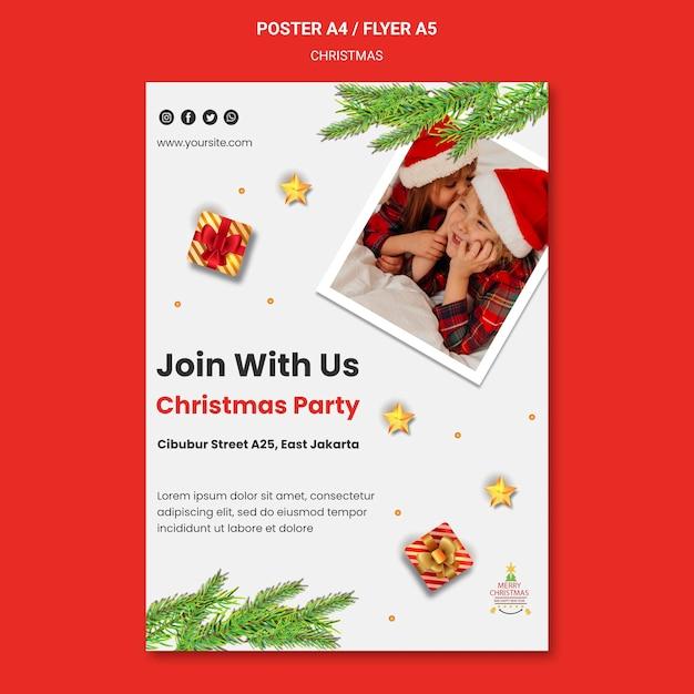 Вертикальный шаблон плаката для рождественской вечеринки с детьми в новогодних шапках Бесплатные Psd