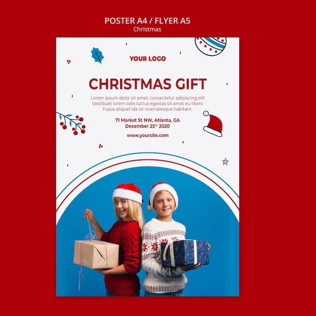 クリスマスの縦のポスターテンプレート 無料 Psd