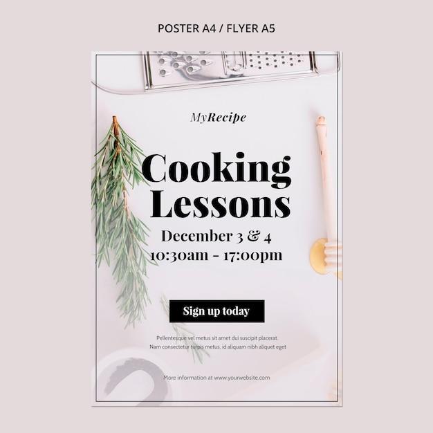 料理教室用の縦型ポスターテンプレート 無料 Psd