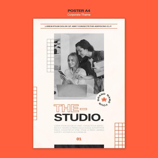 기업 스튜디오를위한 세로 포스터 템플릿 무료 PSD 파일