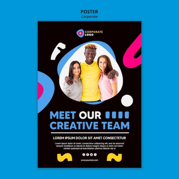 창의적인 기업 팀을위한 세로 포스터 템플릿 무료 PSD 파일