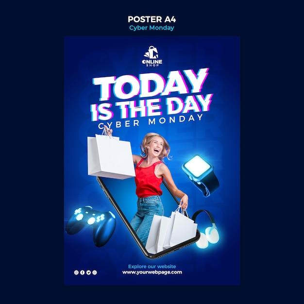 여자와 항목 사이버 월요일에 대한 세로 포스터 템플릿 무료 PSD 파일
