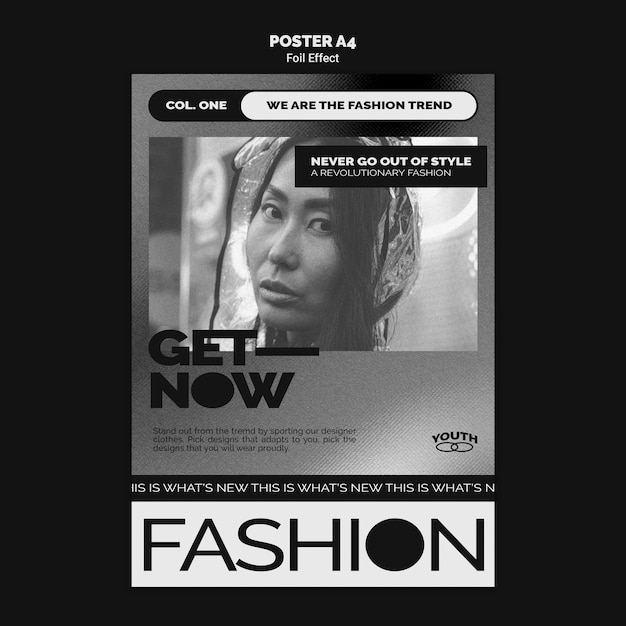호일 효과가있는 패션을위한 세로 포스터 템플릿 무료 PSD 파일