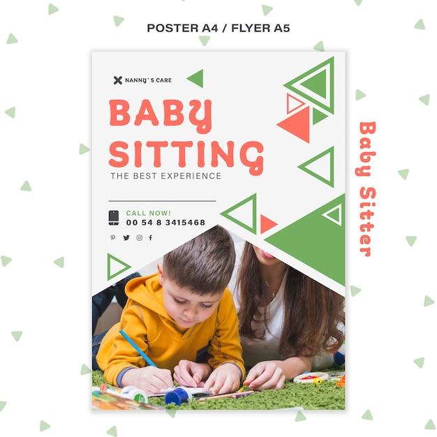 자녀와 함께 여성 베이비 시터를위한 세로 포스터 템플릿 무료 PSD 파일