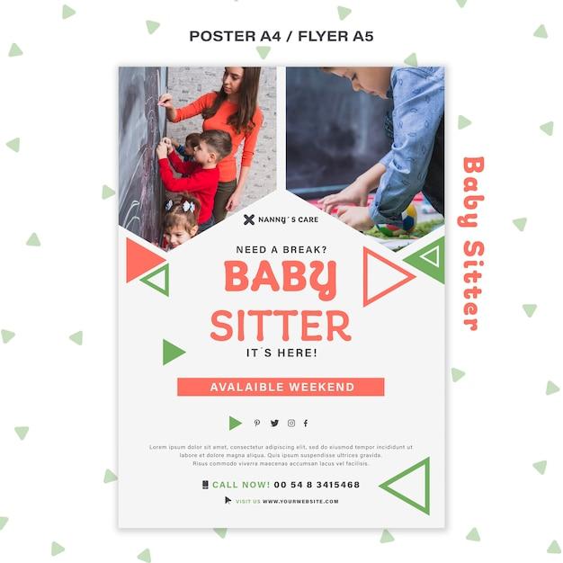 子供と女性のベビーシッターのための垂直ポスターテンプレート 無料 Psd
