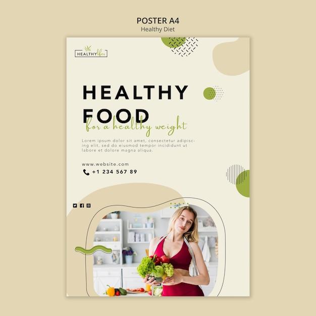 健康的な栄養のための垂直ポスターテンプレート Premium Psd