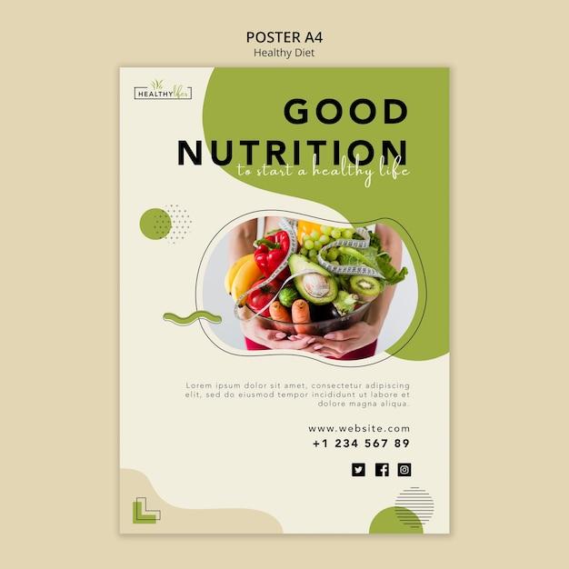 건강한 영양을위한 세로 포스터 템플릿 무료 PSD 파일