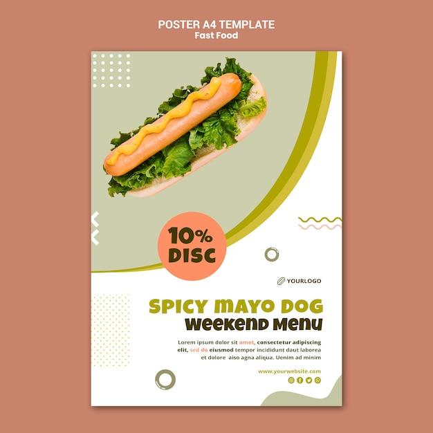 핫도그 레스토랑의 세로 포스터 템플릿 프리미엄 PSD 파일