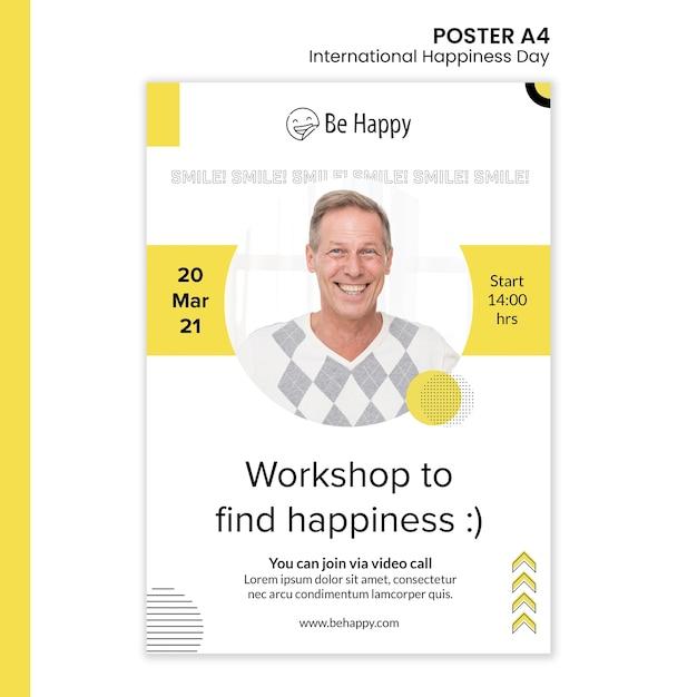 국제 행복의 날을위한 세로 포스터 템플릿 무료 PSD 파일