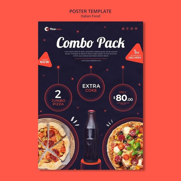 이탈리아 요리 레스토랑의 세로 포스터 템플릿 무료 PSD 파일