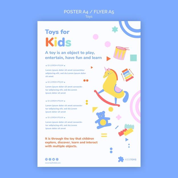 아이 장난감 온라인 쇼핑을위한 수직 포스터 템플릿 무료 PSD 파일