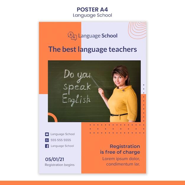 Вертикальный шаблон плаката для языковой школы Бесплатные Psd