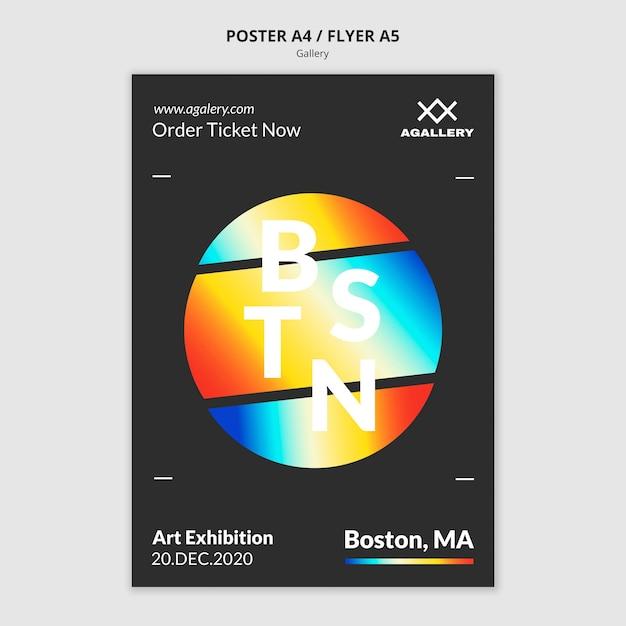 현대 미술 박람회를위한 세로 포스터 템플릿 무료 PSD 파일