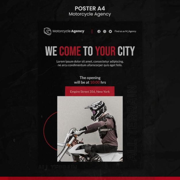 男性ライダーとオートバイ代理店の垂直ポスターテンプレート 無料 Psd